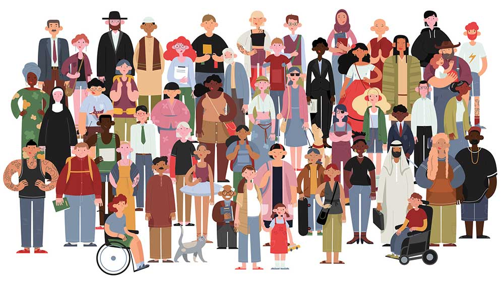 illustration of a very diverse group of people